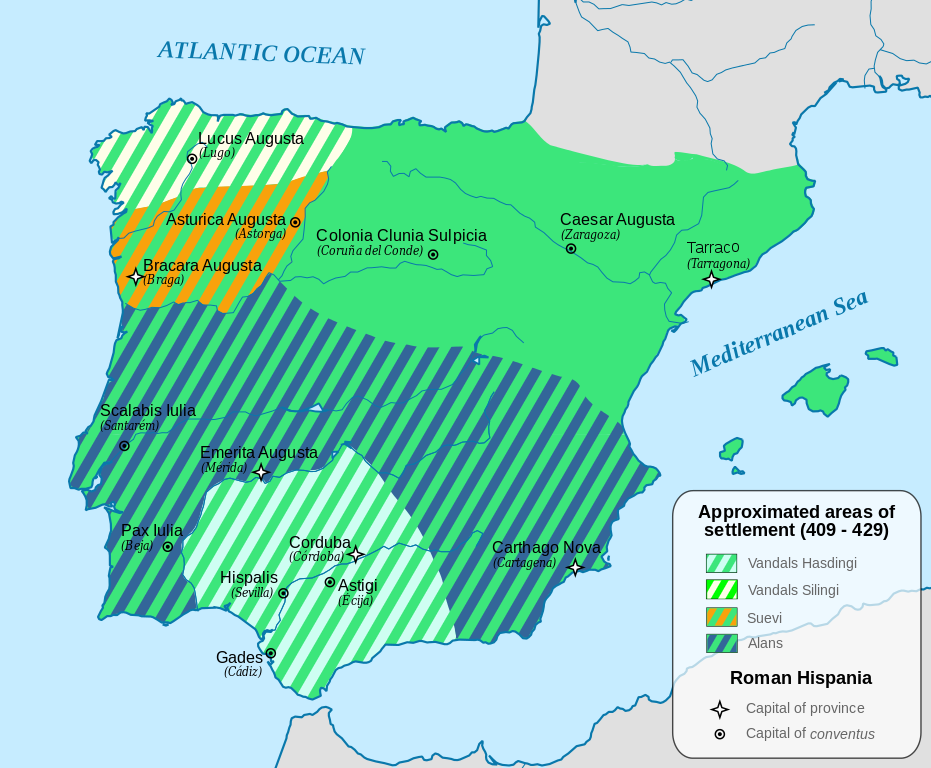 map of Iberia in 409 to 429 AD